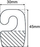 Haak - PET 380µ - Formaat 30x45mm – standaard tape_