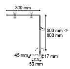 Magnetische bannerhouder met 2 klemmen  - Verstelbare hoogte - Diepte 300mm_
