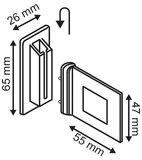 Schapklem in kunststof  - Afmeting47x55mm - Afmeting support 26x65mm - Angle 90° - Wit_