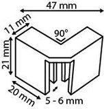 Montagestuk in L-vorm - PP - Afmeting47mmx21mm - Angle 90° - Wit_