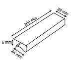 EINDE STOCK - Klemprofiel ter bescherming in transparante kunststof  - Lengte 300mm - Capaciteit 6mm_