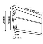 Klikprofiel   - PVC - Lengte 800mm - Transparant_