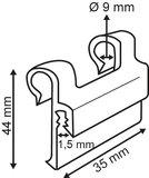 Niet-zelfklevende kaarthouder voor draadmand - PVC - Afmeting35x44mm - øtube 9mm - Transparant_