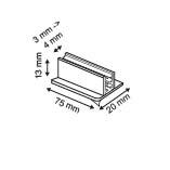 Zelfklevende loodrechte supergrip  - PVC - Afmeting20x75x13mm - Capaciteit min.3mm max.4mm - Transparant_