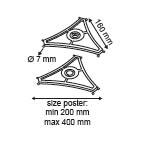 Driezijdige mobielhanger  - Afmeting160mm - Formaat A4Horizontaal, A3 Verticaal_