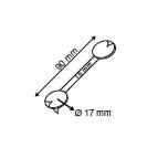 Flexibele Wobbler  - Metaal - 3 permanente kleefpads - Lengte 90mm - Wit_