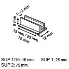 Zelfklevende loodrechte supergrip  - PVC - Afmeting12x15x9mm - Capaciteit min.1mm max.2mm - Transparant_