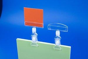 Pince et porte-étiquette  - ps - dim.20x75 - capacité 13x50mm - transparent