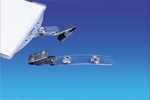 Klem clip voor badgehouder - 55x12mm - Transparant