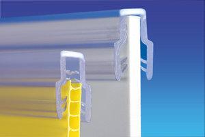 Magneet voor bannerhouderprofiel- pvc - lengte 450mm - hoogte 17mm - capaciteit de 1,5mm à 3mm - transparant