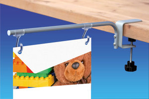 Vaste bannerhouder voor planken van 3 tot 35mm - Lengte 210mm - Open haken