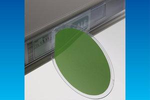 Wobbler in transparante PVC 0,5 mm.