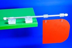 Magnetische bannerhouder in metaal met 2 haken en eindkapje  - Diepte 300mm