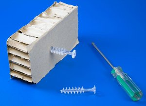 Vijs voor honingraad karton en/of PS  - Totale Lengte 55mm - Lengte 12mm - Transparant