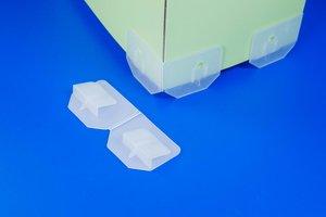 Display steunvoeten voor display met scharnier  - Hoogte voet 11mm - Semi-transparant