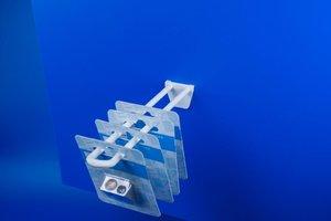 Dubbele kunststof haak met 3 pinnen  - Lengte 300mm - Wit