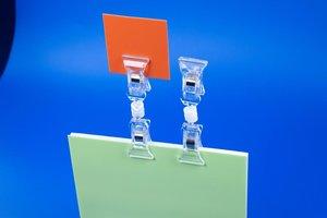Tickethouder met verstelbare dubbele clip  - PS - Lengte 92mm - Transparant