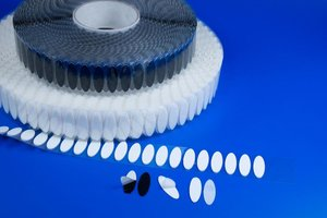Zelfklevende ovale klittenband  - Afmeting12x35mm - Wit - Haak+Lus