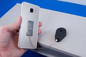 Zelfklevende anti-diefstal pull-box met stalen kabel - Uiteinde: Zelfklevend metalen plaatje 19x45mm - Zwart