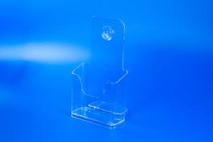 Folderbakje met ophangoogje en steunvoetje  - PS - Formaat 1/3 A4 - Transparant