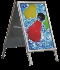 Stoepbord recto/verso, klik profielen met afgeronde hoeken  - Aluminium - standaard - Formaat 500x700mm - Breedte profiel 32mm