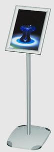 Informatiebord op voet met klikkader et rechte hoeken   - Aluminium - Formaat A3 - Afmeting voet 320x430mm - Hoogte 1200mm