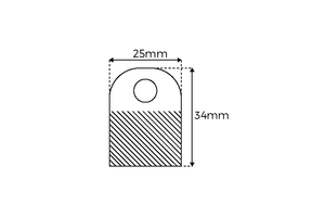 Hangtab   - PET 380µ - Ronde opening - Afmeting25x34mm - ø8mm AC18mm