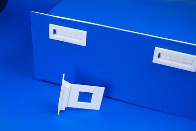 Schapklem in kunststof  - Afmeting47x55mm - Afmeting support 26x65mm - Angle 90° - Wit