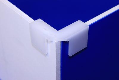 Montagestuk in L-vorm - PP - Afmeting47mmx21mm - Angle 90° - Wit