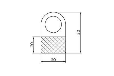 Hangtab   - PET 250µ - Ronde haak - Afmeting30x50mm - Tape Flexi